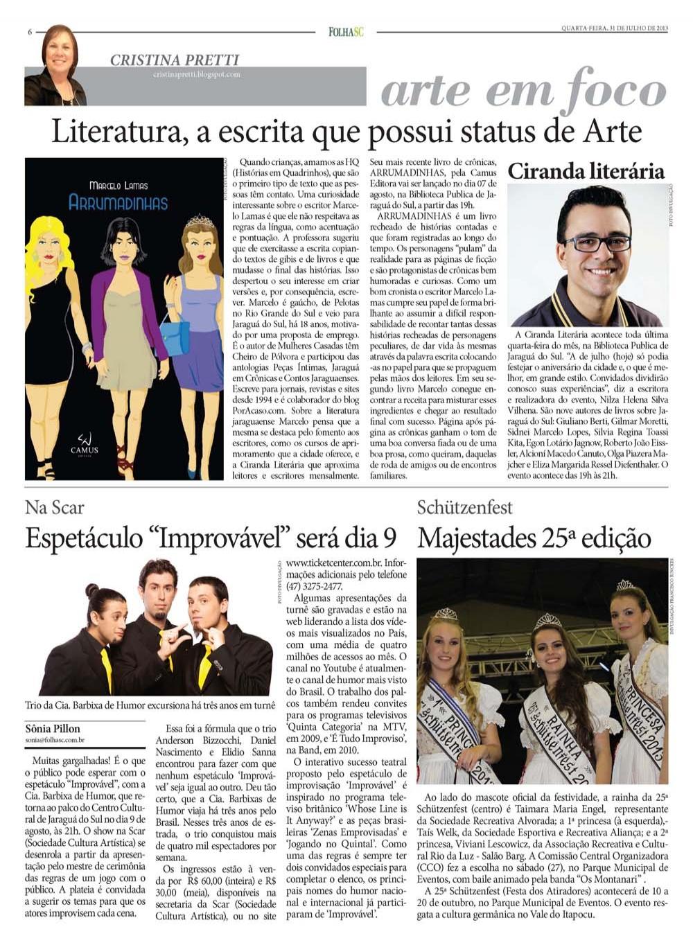Cronista Marcelo Lamas em destaque no jornal FolhaSC
